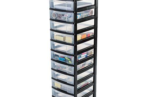 1587928116 775 IRIS Schubladenschrank Schubladenbox Rollwagen Rollcontainer Werkzeugschrank 500x330 - IRIS, Schubladenschrank / Schubladenbox / Rollwagen / Rollcontainer / Werkzeugschrank 'New Chest', NMC-012, mit Rollen, Kunststoff, schwarz / transparent BxTxH: 30 x 38 x 125.5 cm