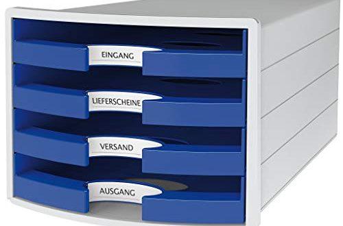 HAN Schubladenbox IMPULS 1013 14 in lichtgraublau Stapelbare Sortierablage mit 4 500x330 - HAN Schubladenbox IMPULS 1013-14 in lichtgrau/blau Stapelbare Sortierablage mit 4 großen, offenen Schubladen für DIN A4/C4/ inkl. Beschriftungsschilder