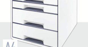 Leitz CUBE Schubladenbox mit 4 Faechern PerlweissGrau A4 Inkl transparentem 310x165 - Leitz CUBE Schubladenbox mit 4 Fächern, Perlweiß/Grau, A4, Inkl. transparentem Schubladeneinsatz, WOW, 52132001