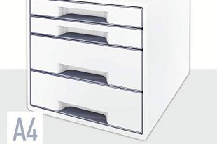 Leitz CUBE Schubladenbox mit 4 Faechern PerlweissGrau A4 Inkl transparentem 310x205 - Leitz CUBE Schubladenbox mit 4 Fächern, Perlweiß/Grau, A4, Inkl. transparentem Schubladeneinsatz, WOW, 52132001