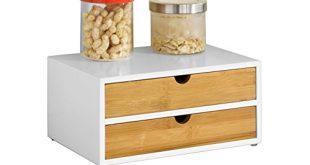 SoBuy® FRG180 WN Kaffeekapsel Box aus MDF und Bambus Kapselspender Kapselstaender 310x165 - SoBuy® FRG180-WN Kaffeekapsel Box aus MDF und Bambus Kapselspender Kapselständer mit 2 Schubladen Aufbewahrungsbox Schubladenbox Schreibtischorganizer