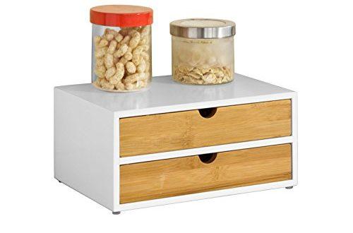 SoBuy® FRG180 WN Kaffeekapsel Box aus MDF und Bambus Kapselspender Kapselstaender 500x330 - SoBuy® FRG180-WN Kaffeekapsel Box aus MDF und Bambus Kapselspender Kapselständer mit 2 Schubladen Aufbewahrungsbox Schubladenbox Schreibtischorganizer